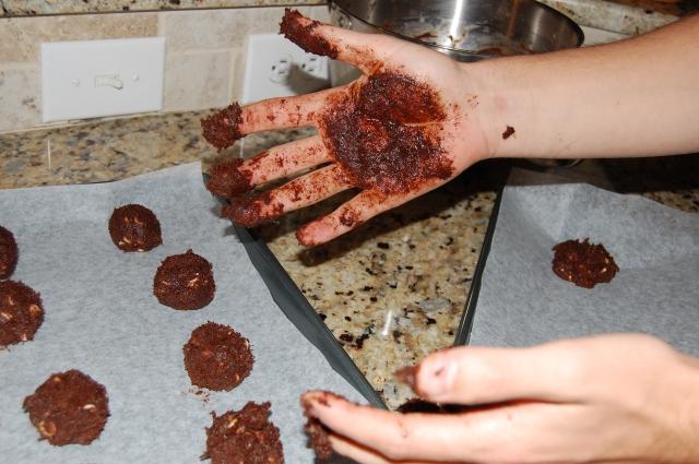 GF Chocolate Cookies w/ PB + White Chocolate Chips