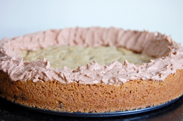 Gluten Free Chocolate Chip Cookie Cake with Chocolate Buttercream | emthebaker.com