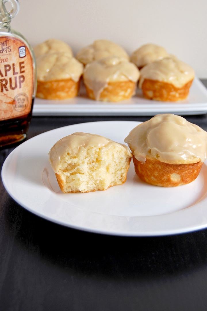 Gluten Free Mini Maple Yogurt Cakes {soft maple cakes topped with a sweet maple glaze, heavenly!} | emthebaker.com