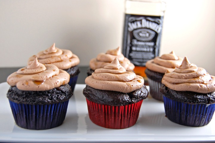 Gluten Free Whiskey Chocolate Cupcakes with Whiskey Chocolate Buttercream and a Whiskey Drizzle   emthebaker.com